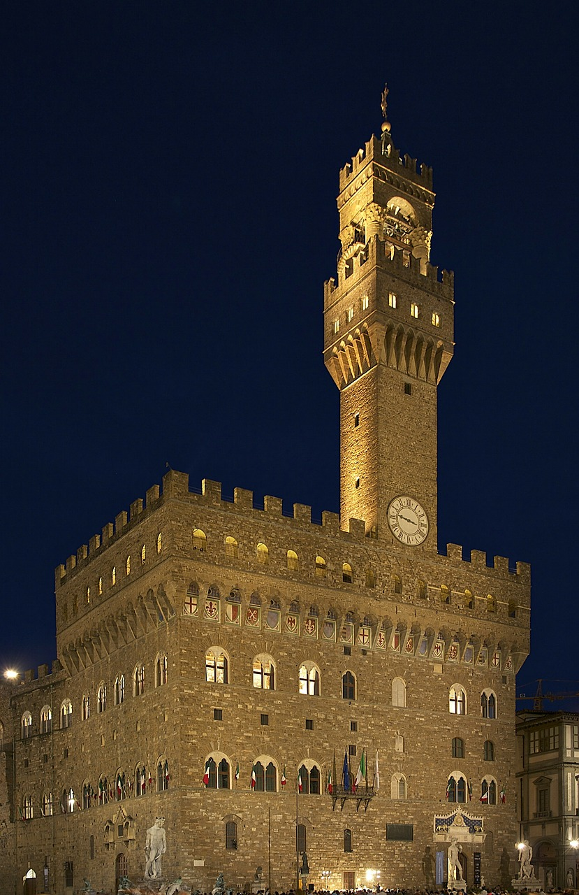 castle,palazzo,palace,night,evening,lights,building,tower,spire,architecture,landmark,historical,florence,italy,beautiful,outside,free pictures, free photos, free images, royalty free, free illustrations, public domain