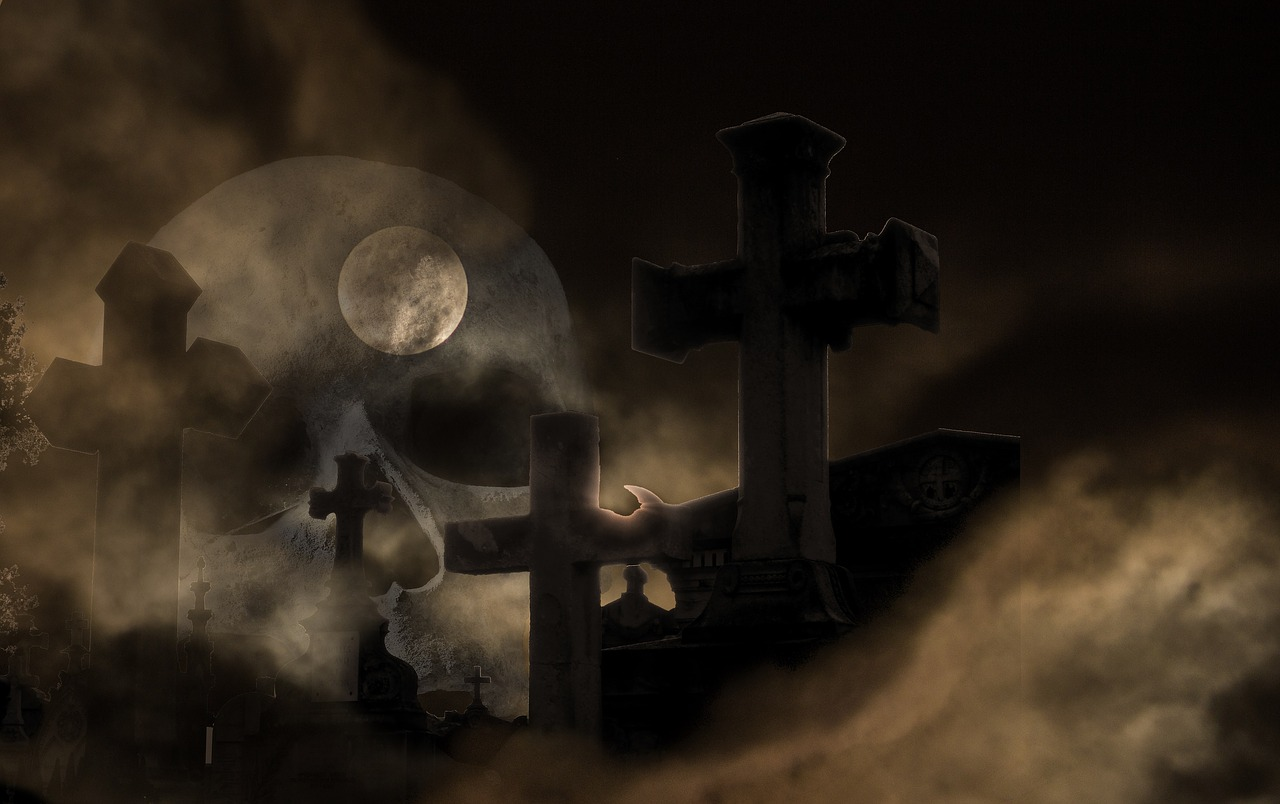 cemetery composing skull and crossbones free photo