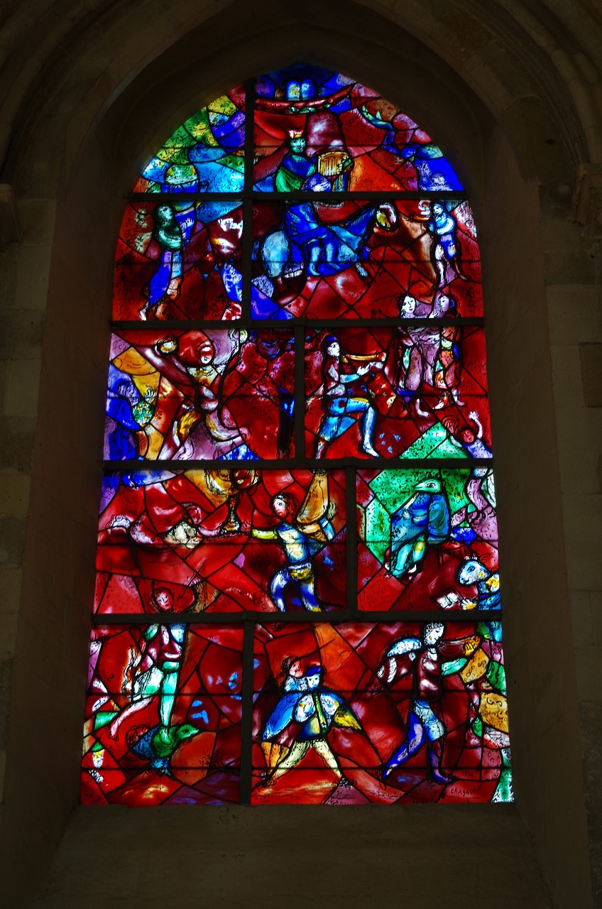 chagall,church window,glass art,colorful,color,chichester cathedral,stained glass window,free pictures, free photos, free images, royalty free, free illustrations, public domain