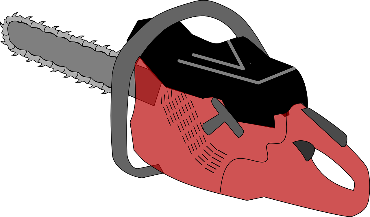 chainsaw,saw,cut,tool,sawing,blade,red,machine,pull start,handle,sharp,chain,cutting,free vector graphics,free pictures, free photos, free images, royalty free, free illustrations, public domain
