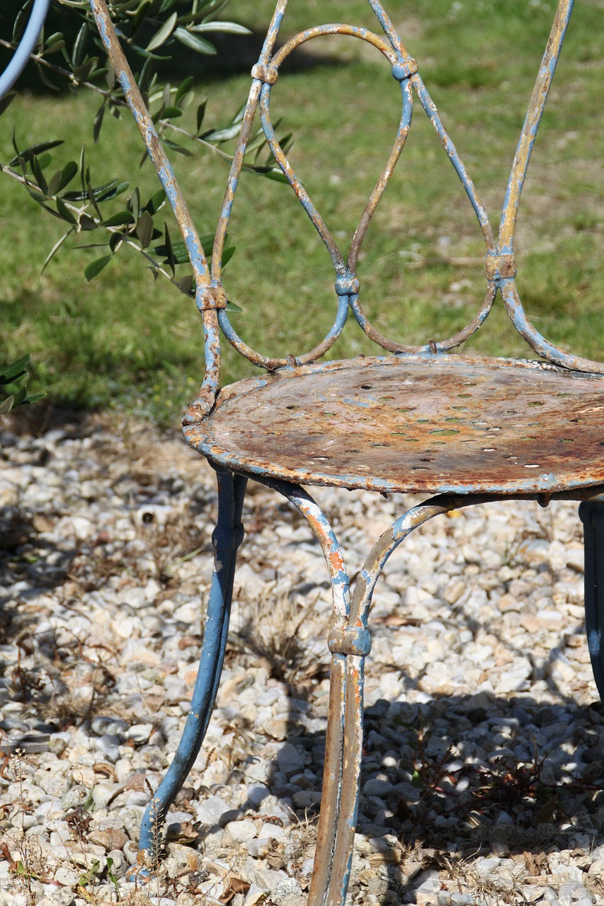 chair old,metal chair,chair garden,chair,metal,decoration,vintage,antique chairs,decor,empty chairs,rust,garden,gravel,blue chair,free pictures, free photos, free images, royalty free, free illustrations, public domain