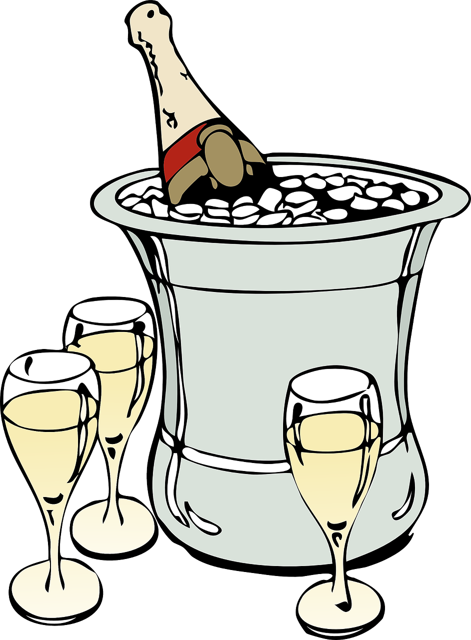 champagne,ice,glasses,sparkling wine,bottle,grape,bubbly,celebration,alcoholic,chardonnay,toast,spumante,free vector graphics,free pictures, free photos, free images, royalty free, free illustrations, public domain