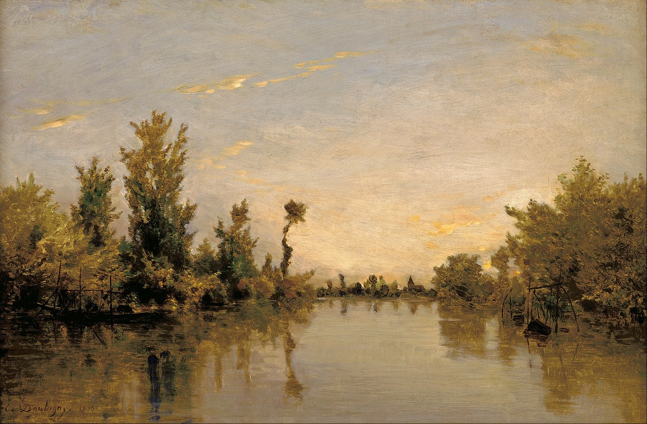 charles daubigny painting oil on canvas free photo