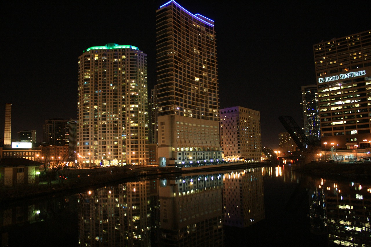 chicago river night view free photo