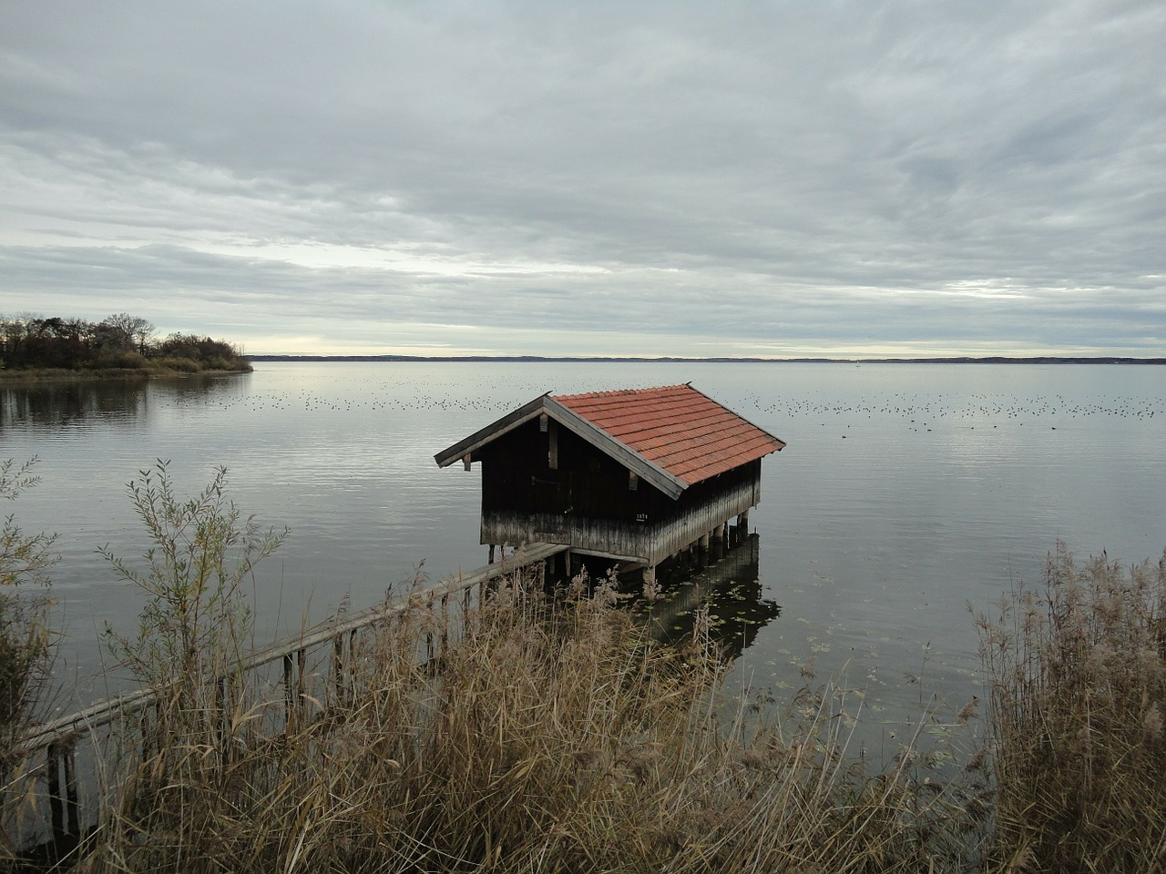 chiemsee water boat house free photo