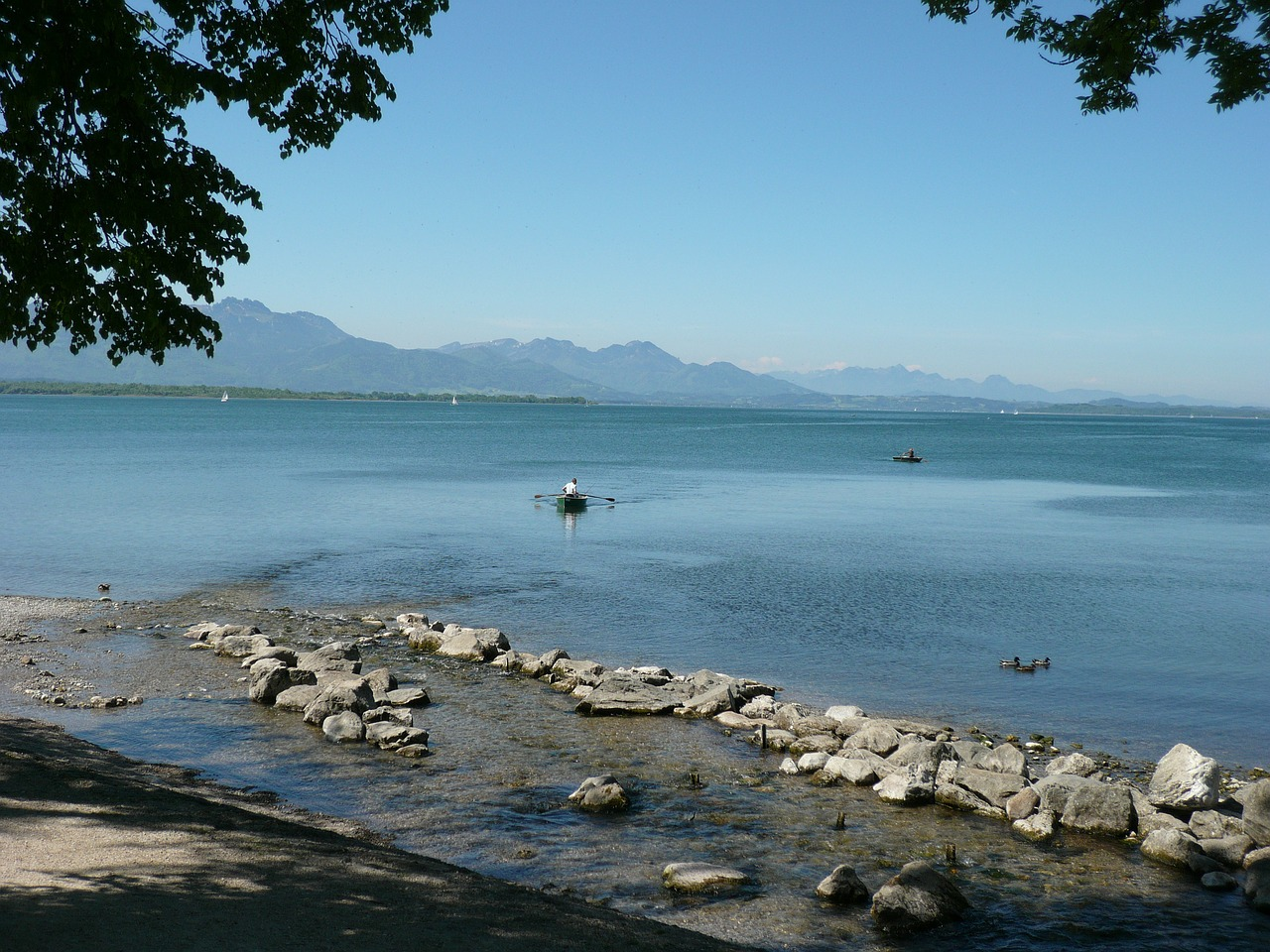 chiemsee lake mountains free photo