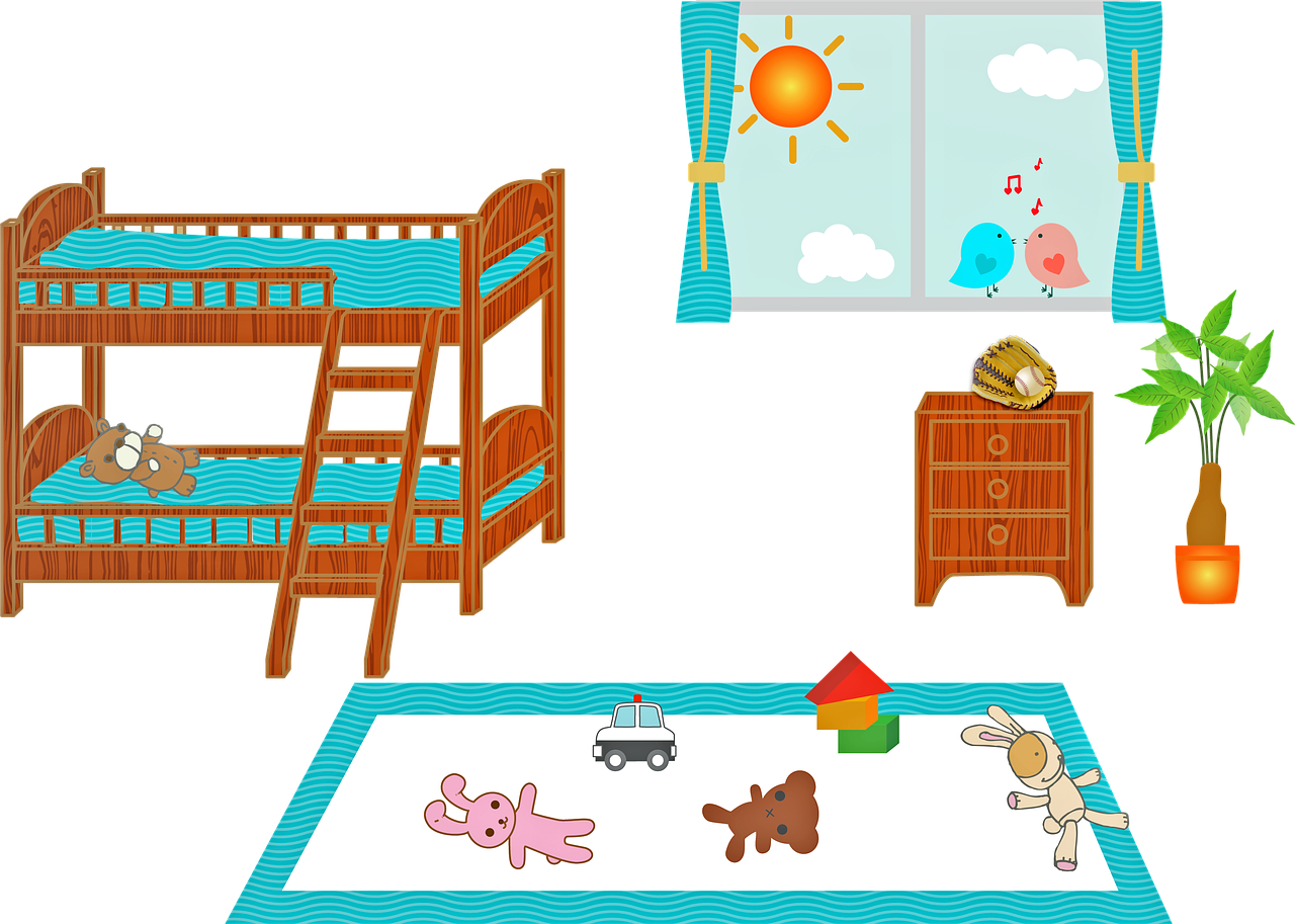 children's bedroom  bunk bed  window free photo