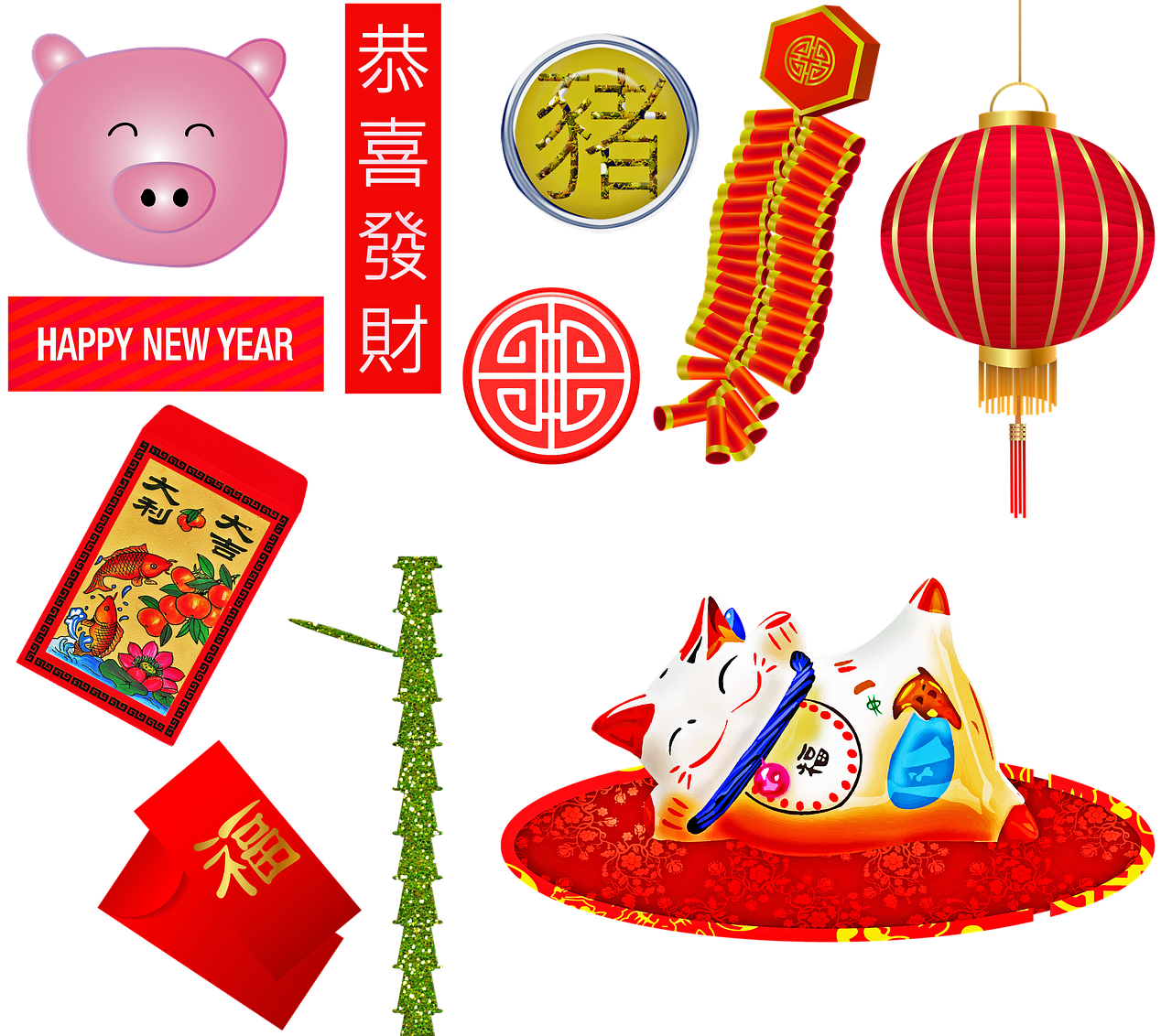 chinese new year  year of the pig  firecrackers free photo