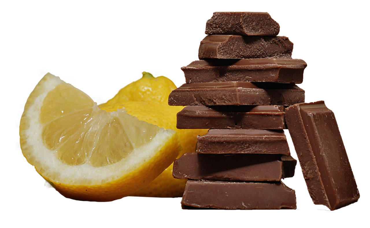 chocolate  lemon  isolated free photo