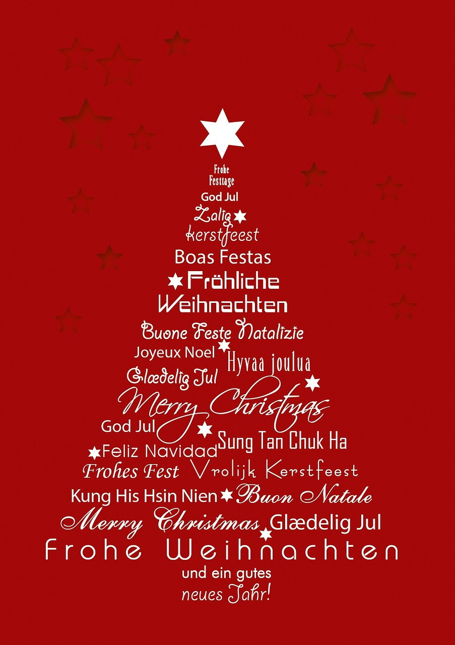 Merry Christmas Different Languages.Christmas Christmas Different Languages Christmas Tree Red