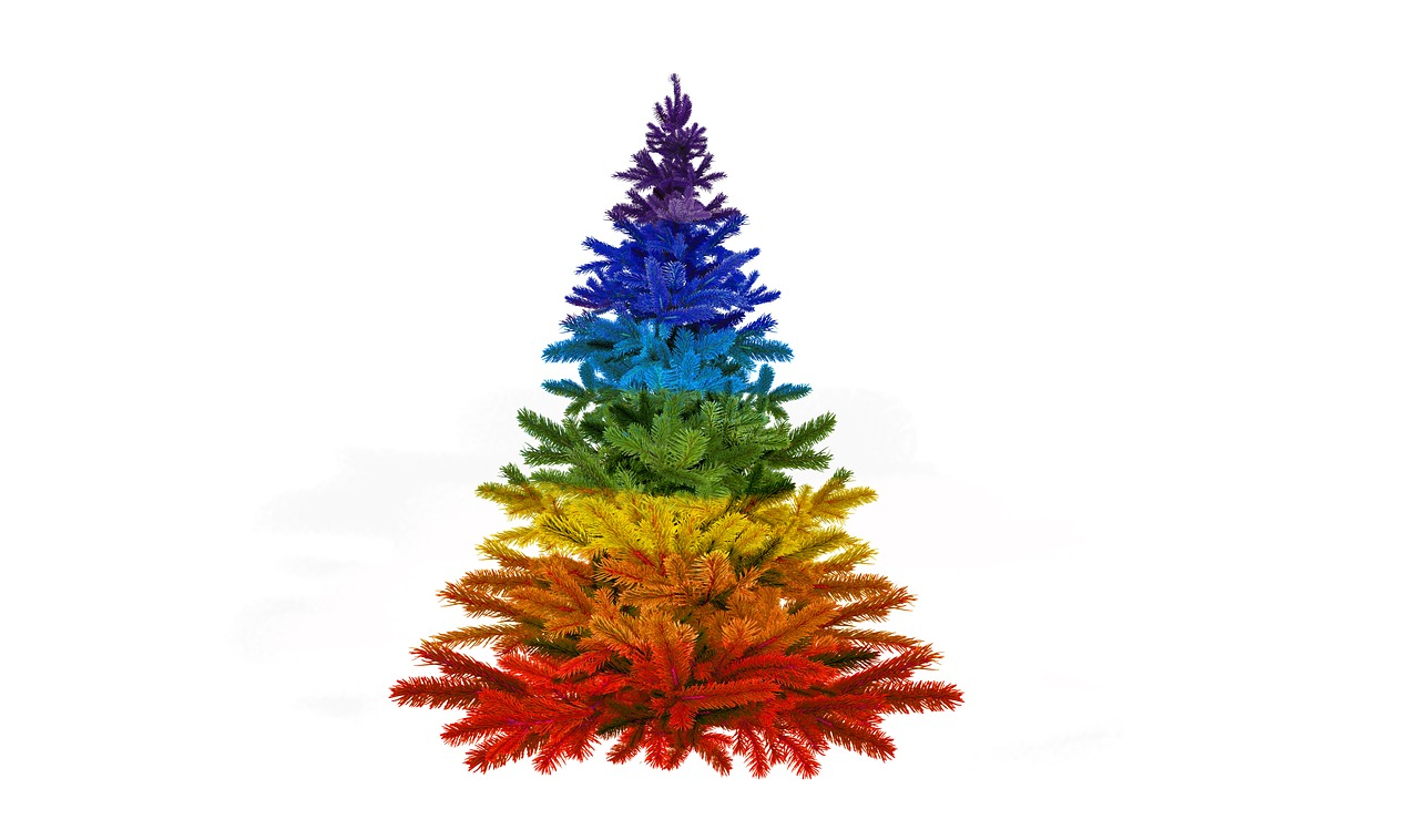 Christmas Colorful Rainbow Colors Advent Tree Decorations Free