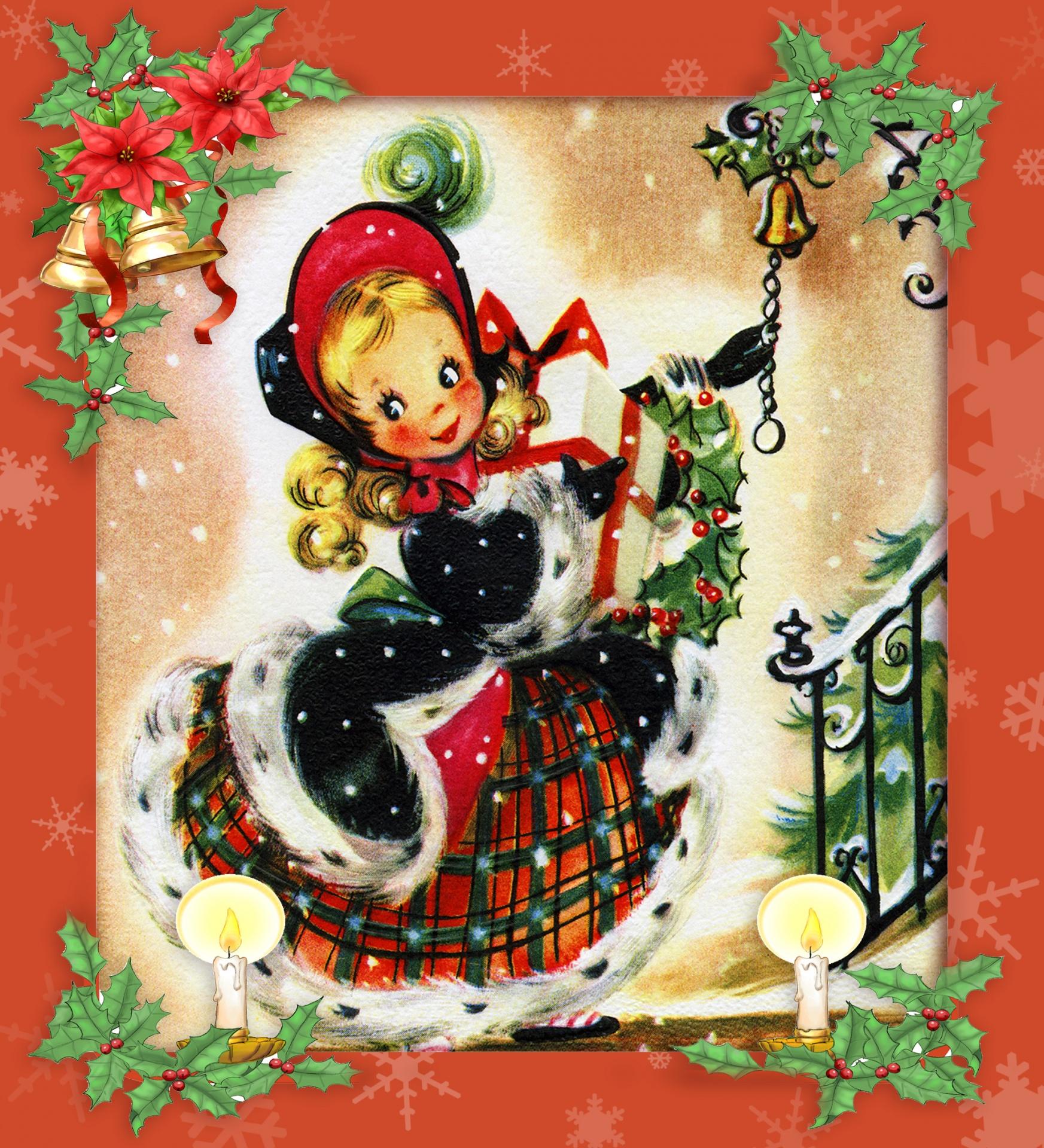 Vintage Christmas Illustrations.Christmas Vintage Christmas Card Girl Young Free Photo