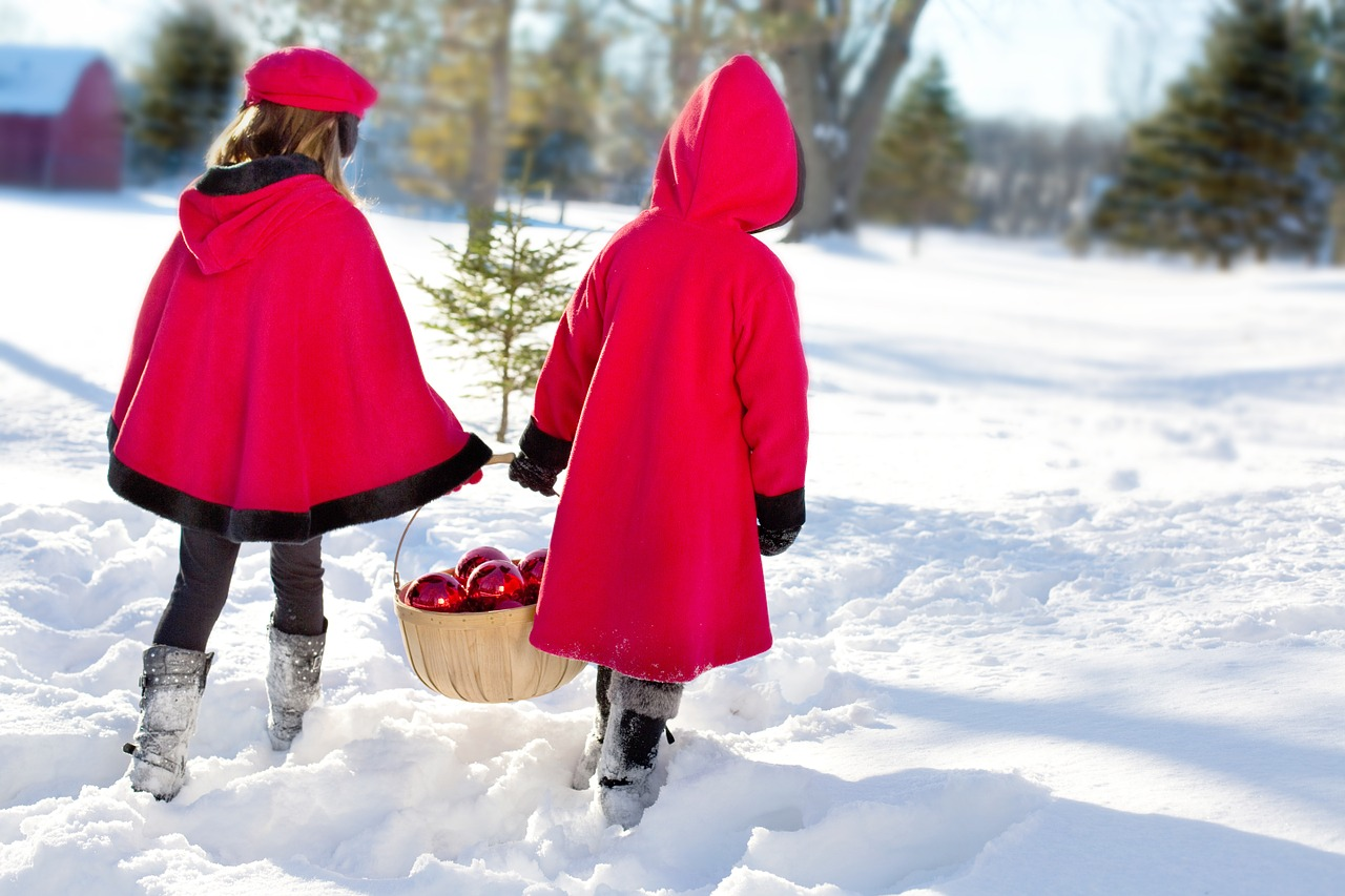 christmas girls girls snowy free photo