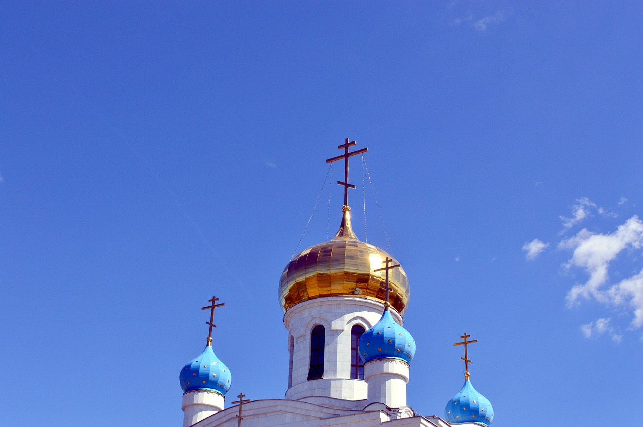 church,christianity,cross,sky,blue,clouds,summer,religion,dome,gold,free pictures, free photos, free images, royalty free, free illustrations
