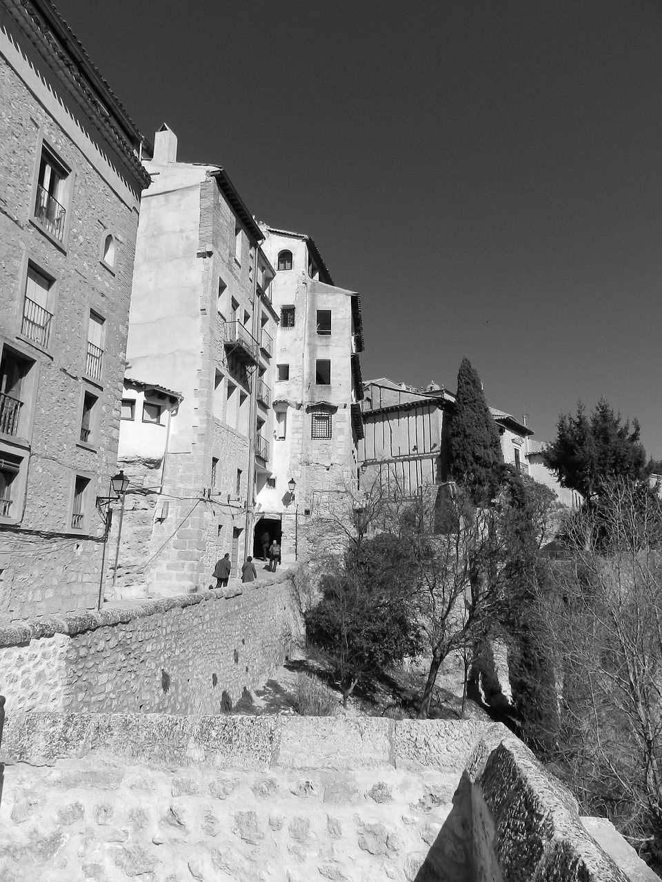 city black and white spain free photo