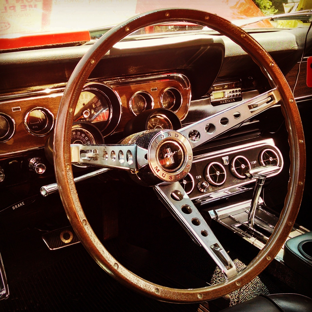 classic car steering wheel mustang free photo