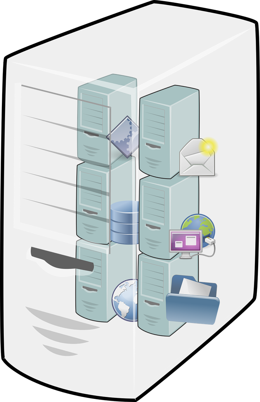 Cloud computing,host,server,virtual machine,free vector