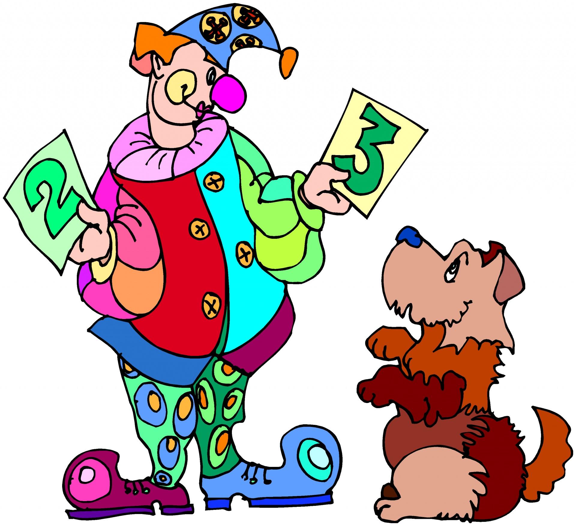 Картинки анимация клоун с собачкой