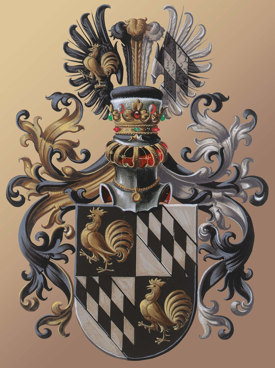 coat of arms,european,tradition,hereditary,characters,person,family,group of people,noble family,knighthood,knight,hahn,argyle pattern,wing,feather,helm,knight helmet,heraldry,gems,nobleman,old,antique,gold,silver,black,white,armor,metal,visor,middle ages,to ocher,palatial,stylized,gold medallion,chain,free pictures, free photos, free images, royalty free, free illustrations, public domain