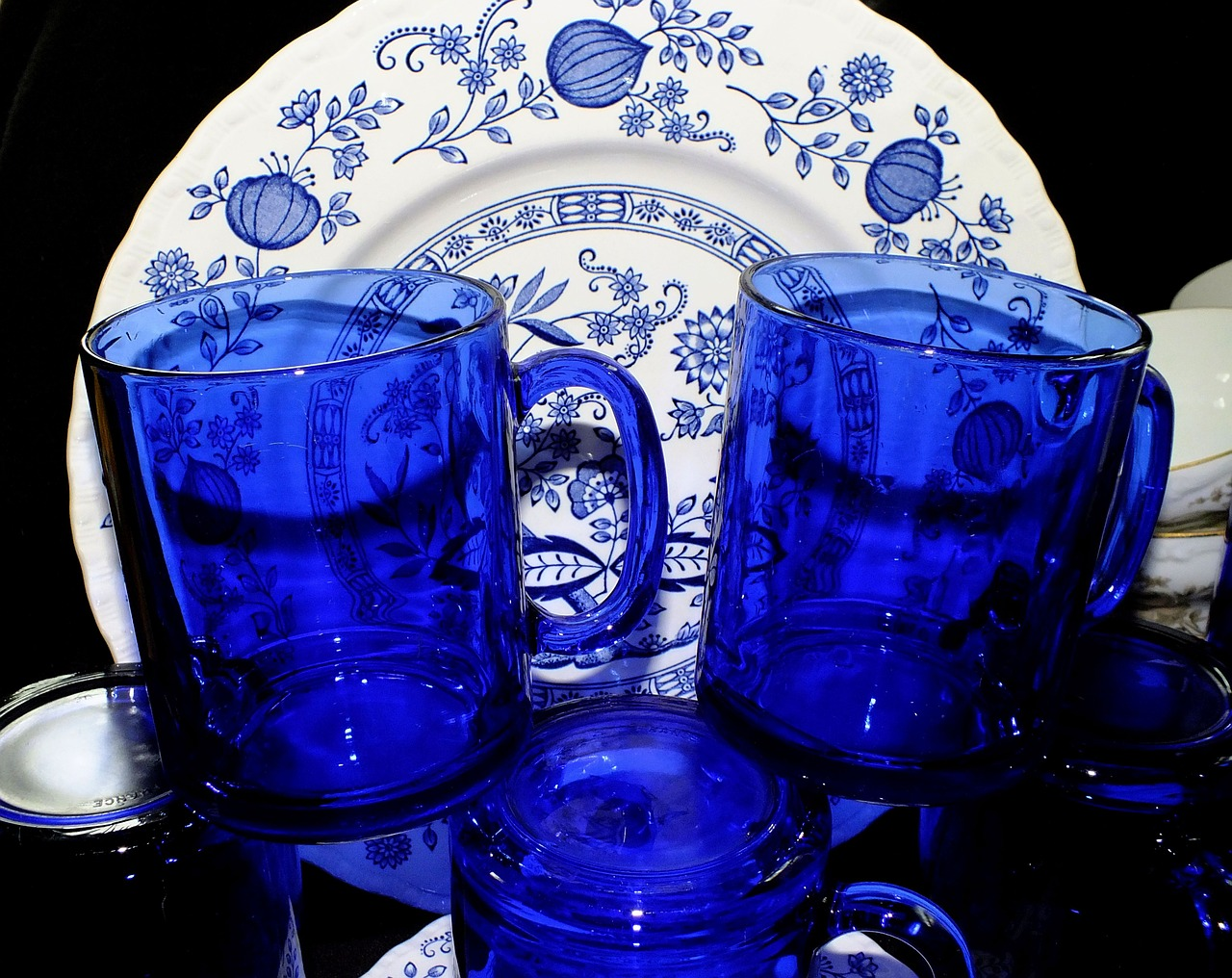 cobalt blue glasses dishes free photo