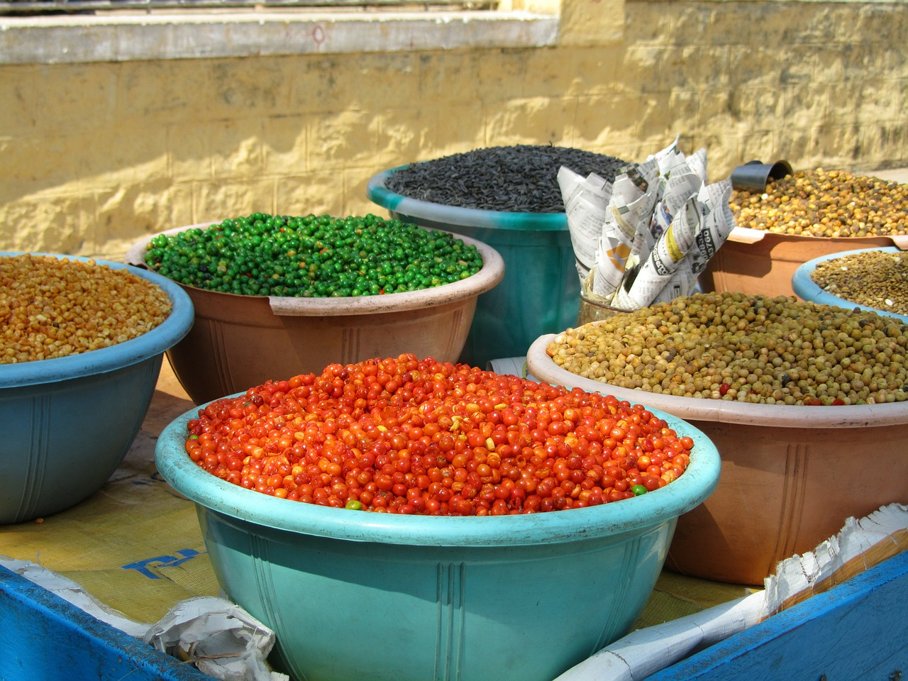 colorful beans market free photo