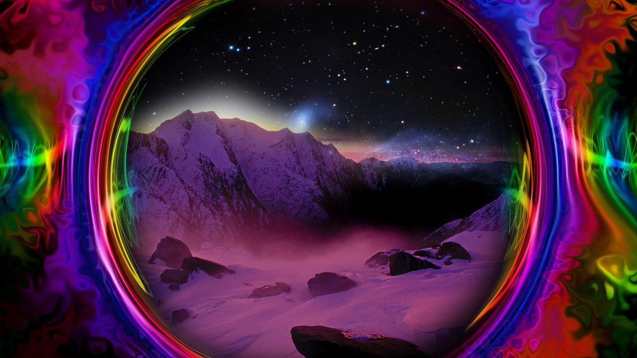 Colorful Space Trippy Psychedelic Mountain Free Image From
