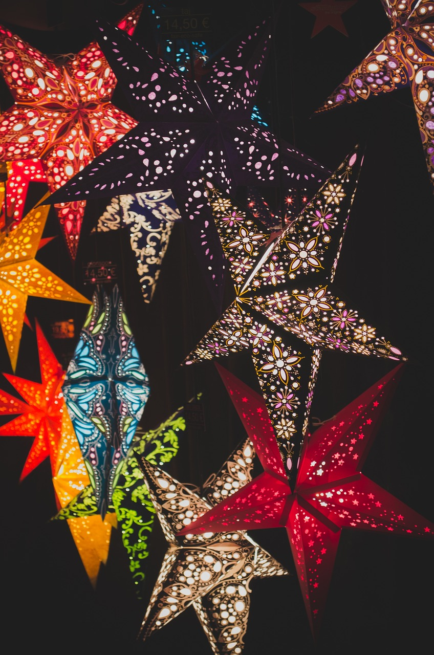 colorful,stars,christmas,decor,lights,dark,free pictures, free photos, free images, royalty free, free illustrations