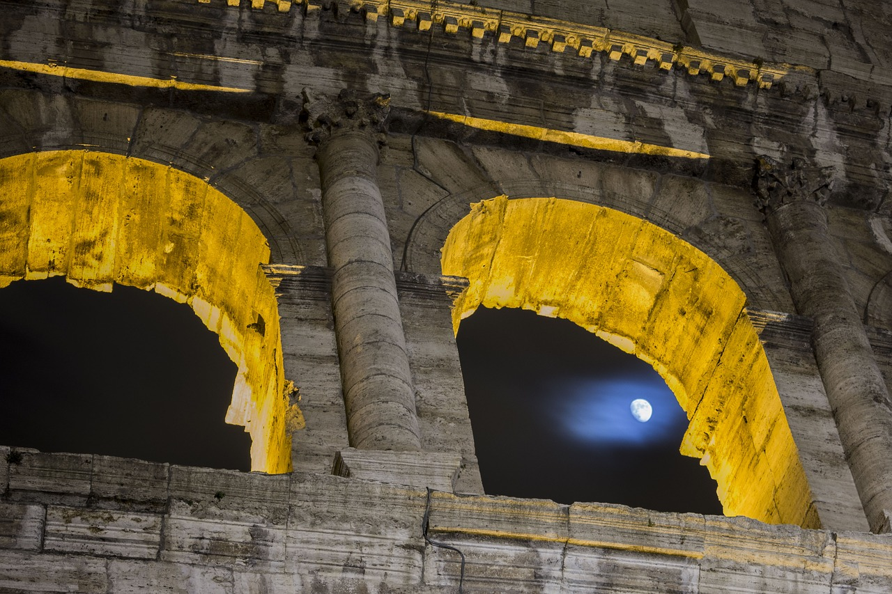 colosseum night luna free photo