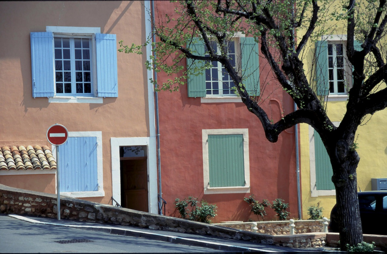 colourful houses roussillon provence free photo