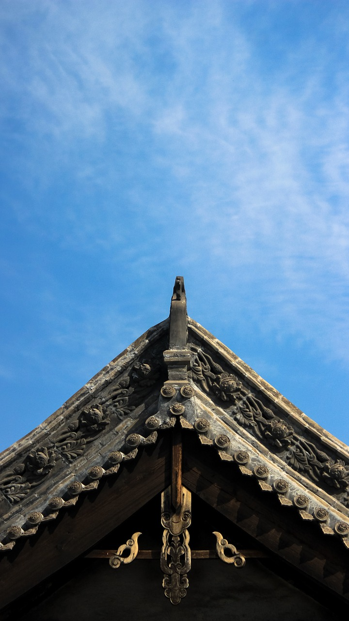 cornices chinese ancient architecture taiyuan roof sky free photo