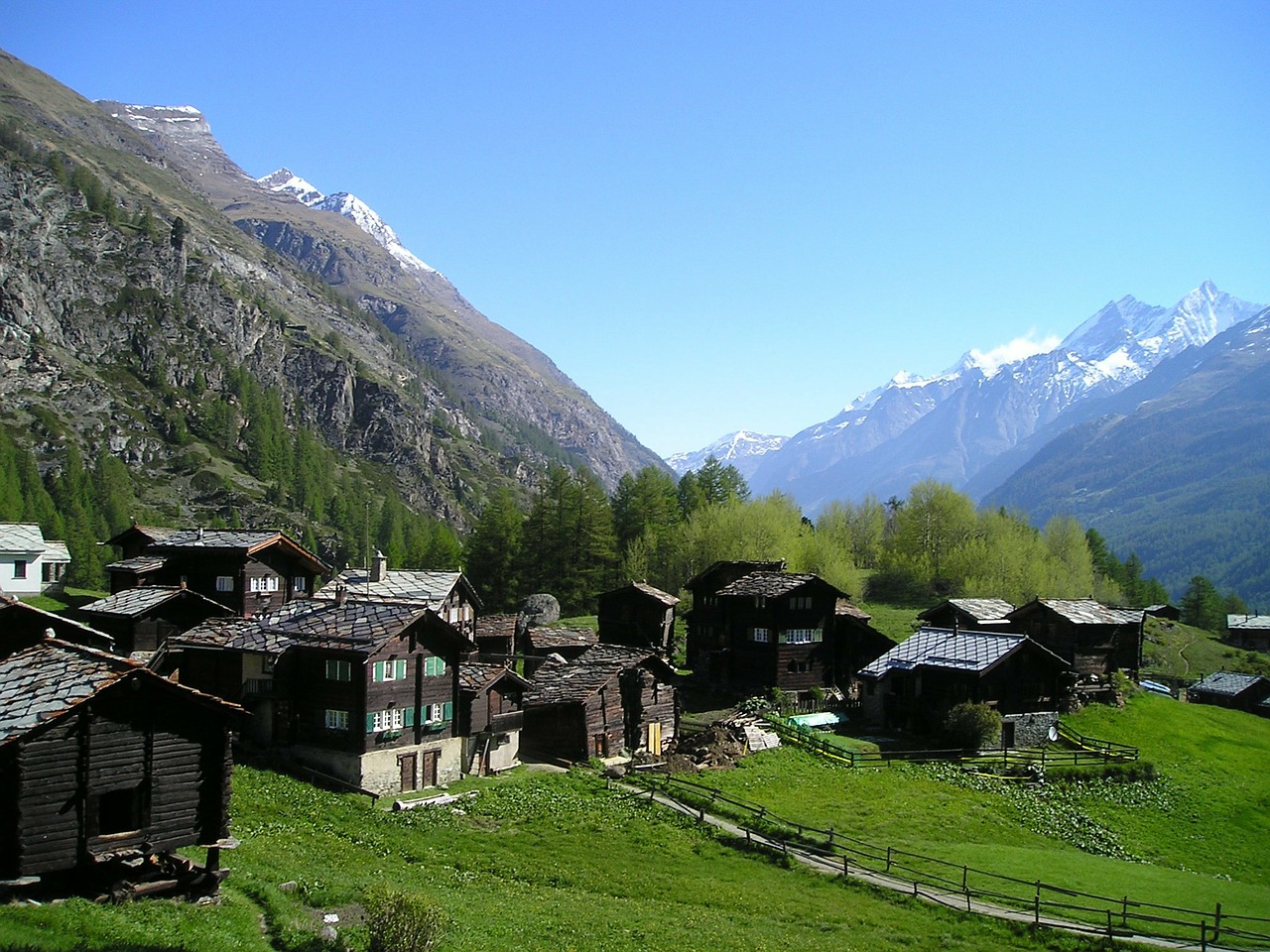 cottages village zermatt free photo