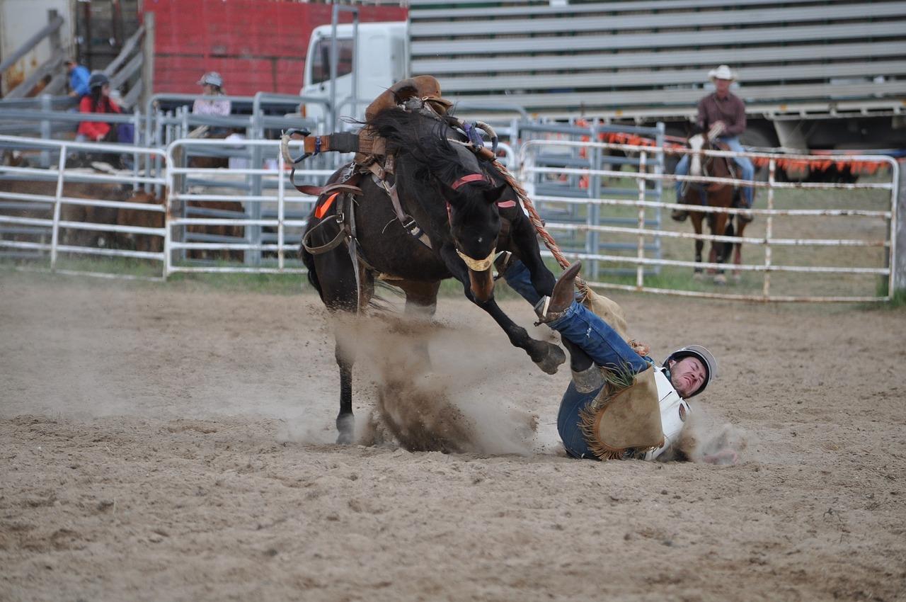 Rodeo A Cavallo.Kaubojus Broncų Raitelis Rodeo Kritimas Zemė Nemokamos