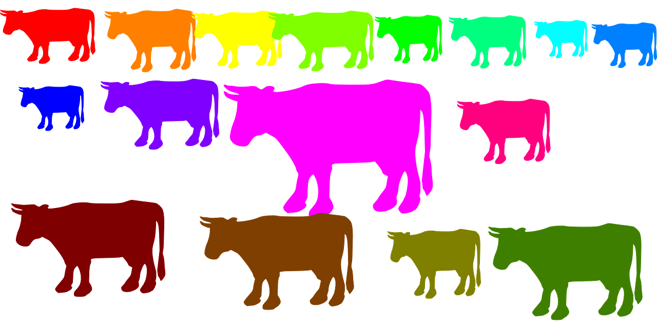 cows,herd,animals,rainbow colors,farm,farm animals,free vector graphics,free pictures, free photos, free images, royalty free, free illustrations, public domain