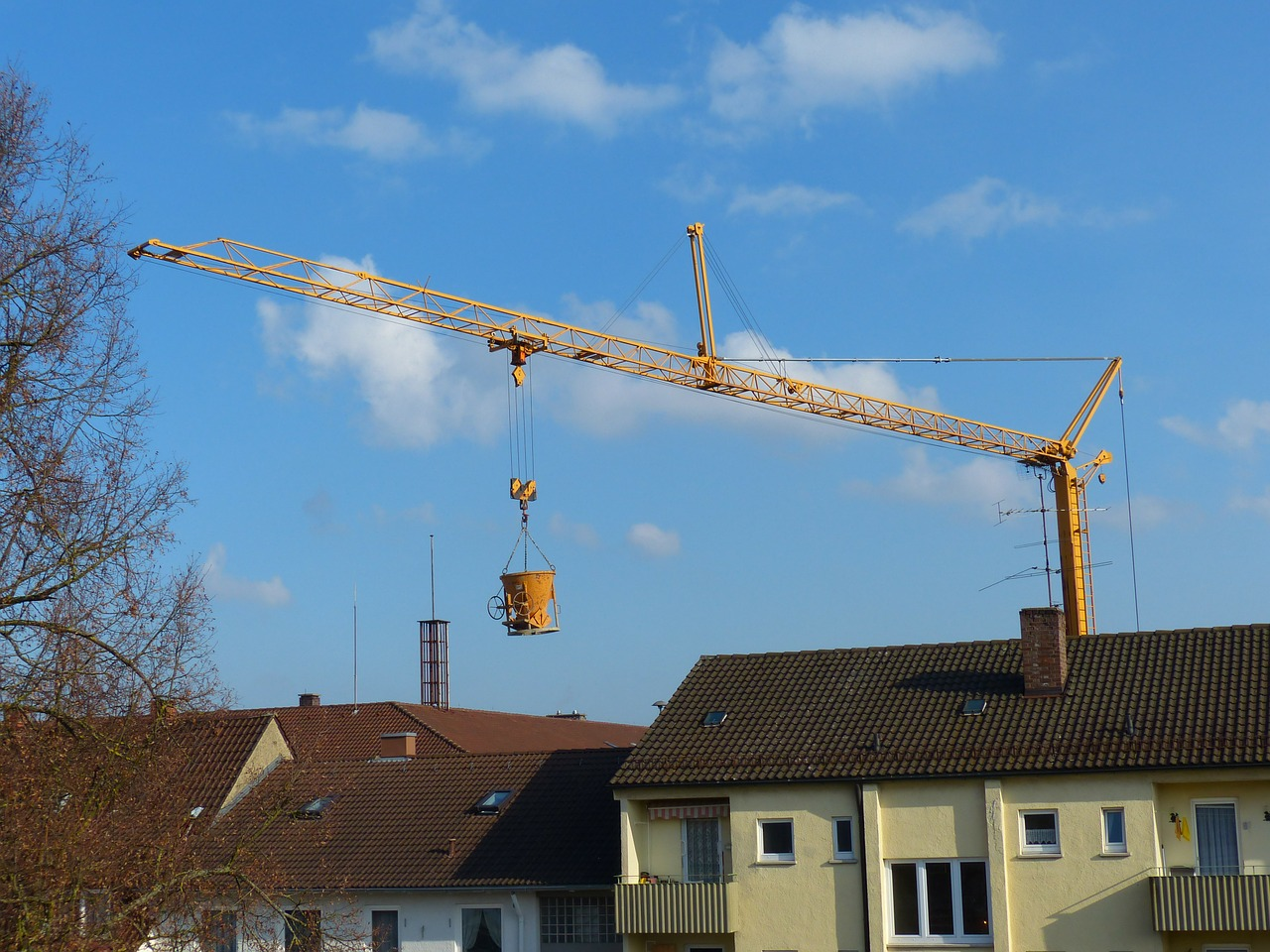 crane baukran construction work free photo