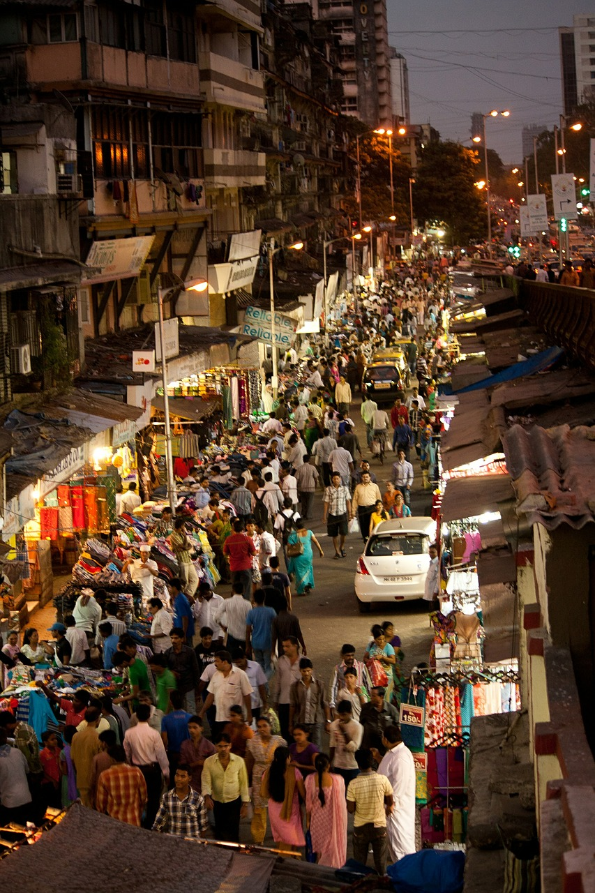 crowded street mumbai free photo