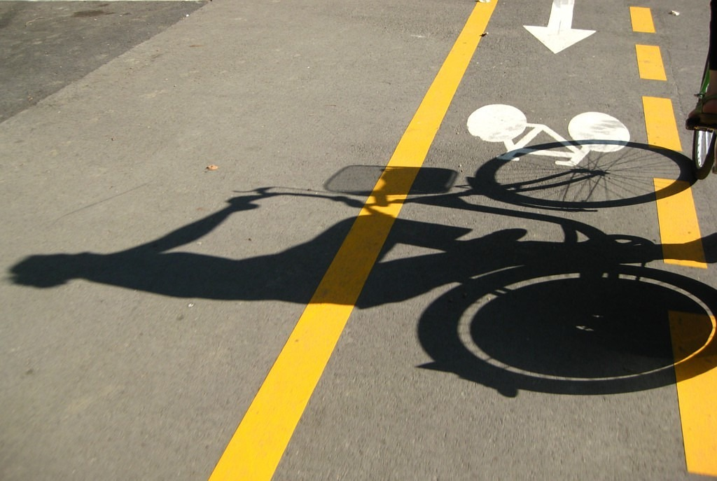 cycle path cycling shadow free photo