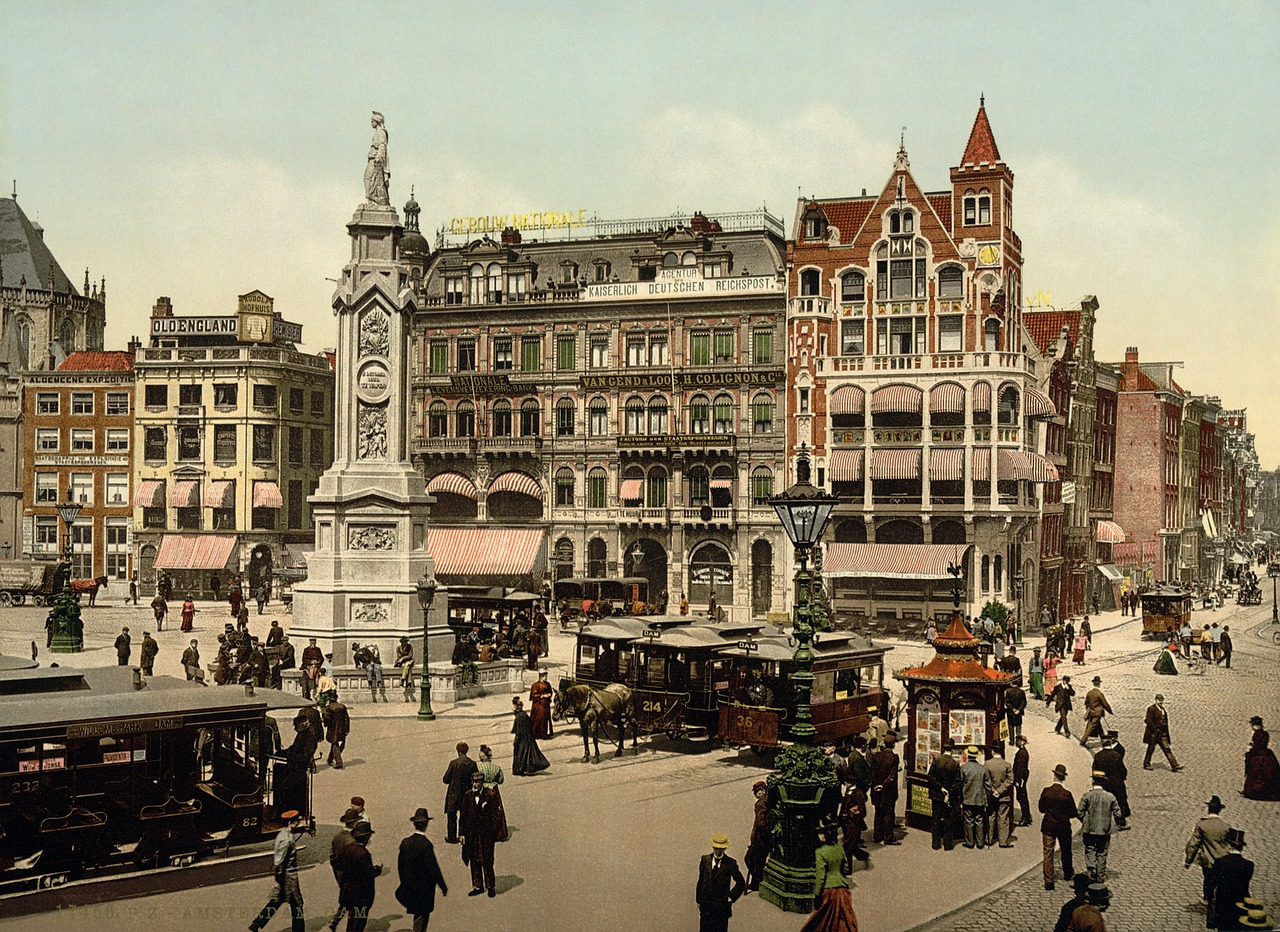 dam square amsterdam photochrom free photo