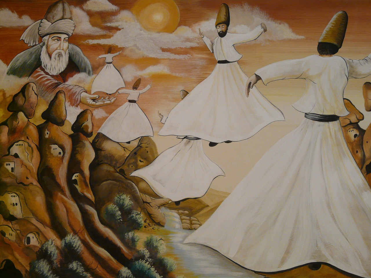 dance dervishes rotate towels free photo