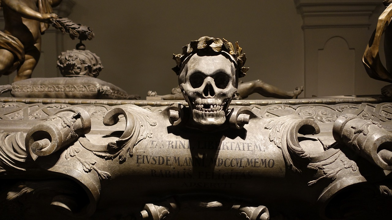 death coffin skull and crossbones free photo