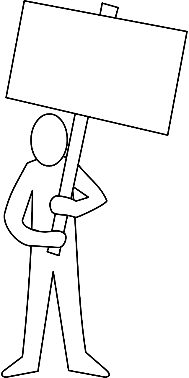 demonstrator,protester,sign,man,showing,free vector graphics,free pictures, free photos, free images, royalty free, free illustrations, public domain