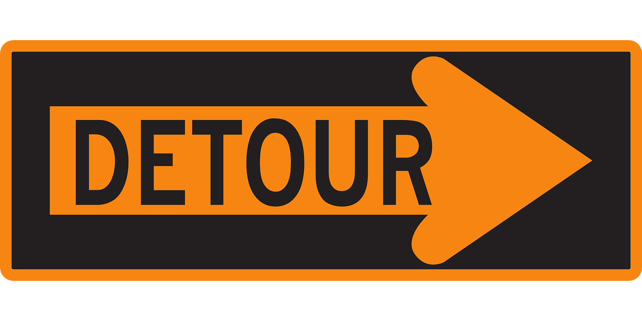 detour sign warning free photo