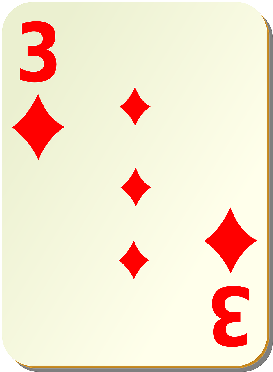 diamonds,three,3,playing cards,card,games,poker,recreation,free vector graphics,free pictures, free photos, free images, royalty free, free illustrations, public domain