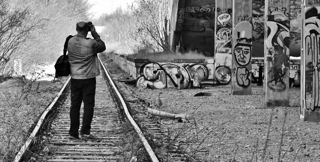disused railway line  railway station  man free photo