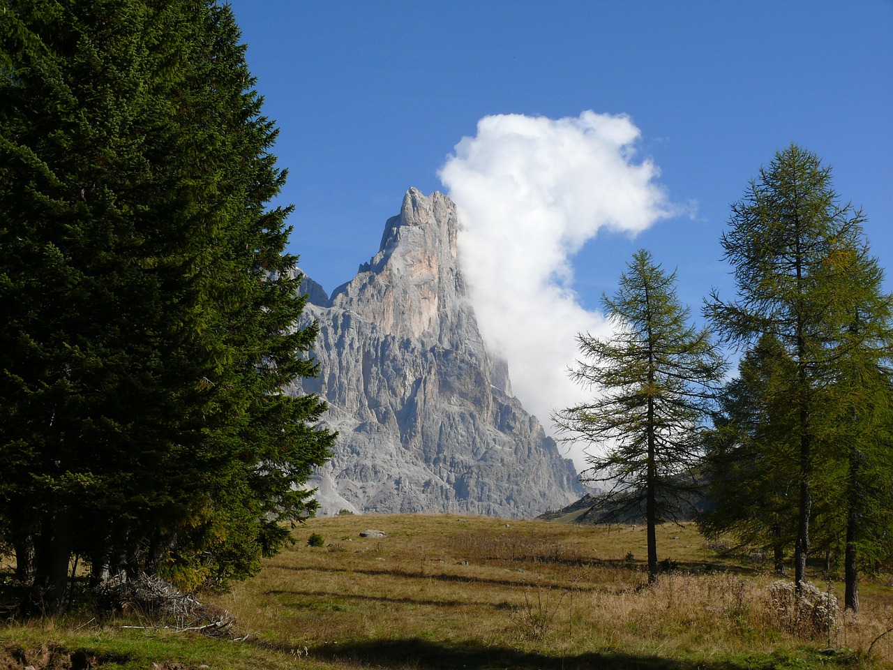 dolomites mountains rock free photo