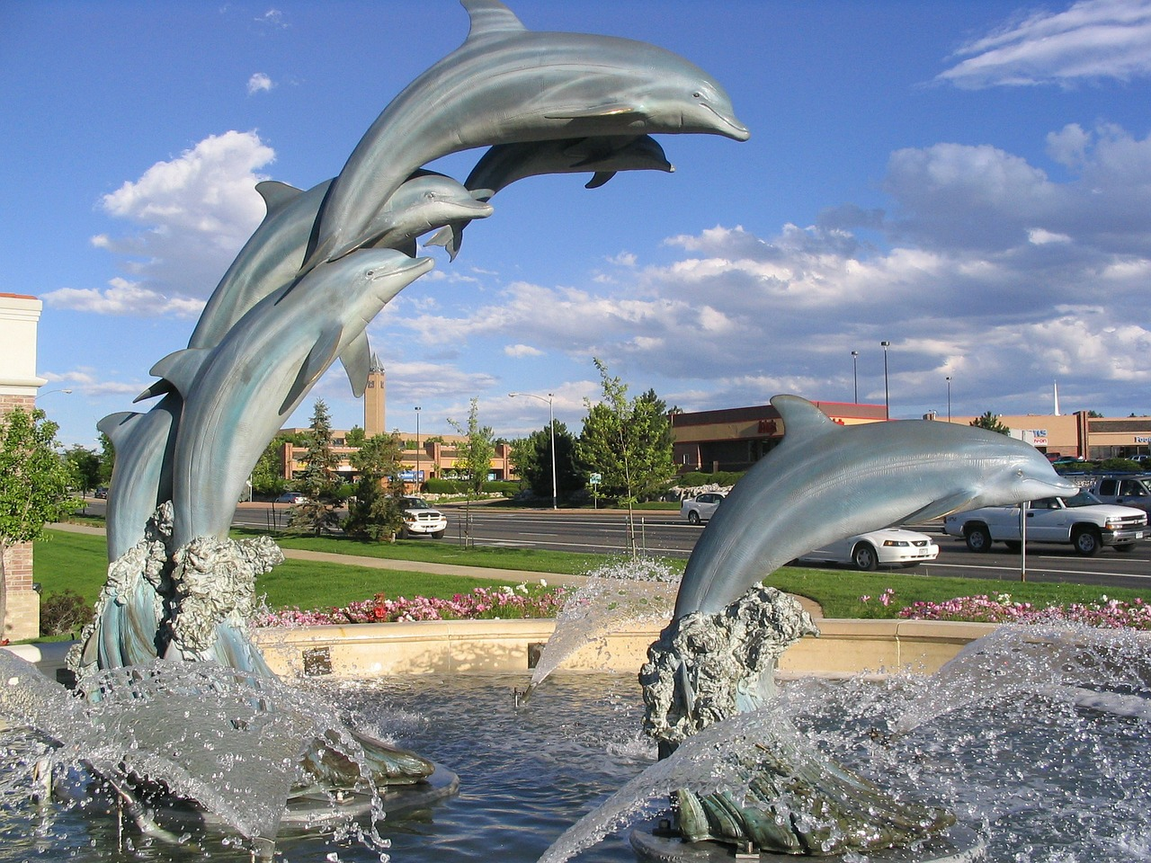 dolphin fountain water free photo
