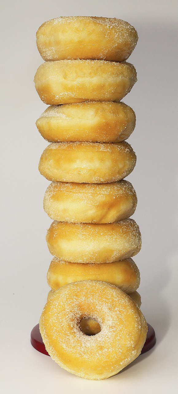 donut pastries pastry stacked free photo