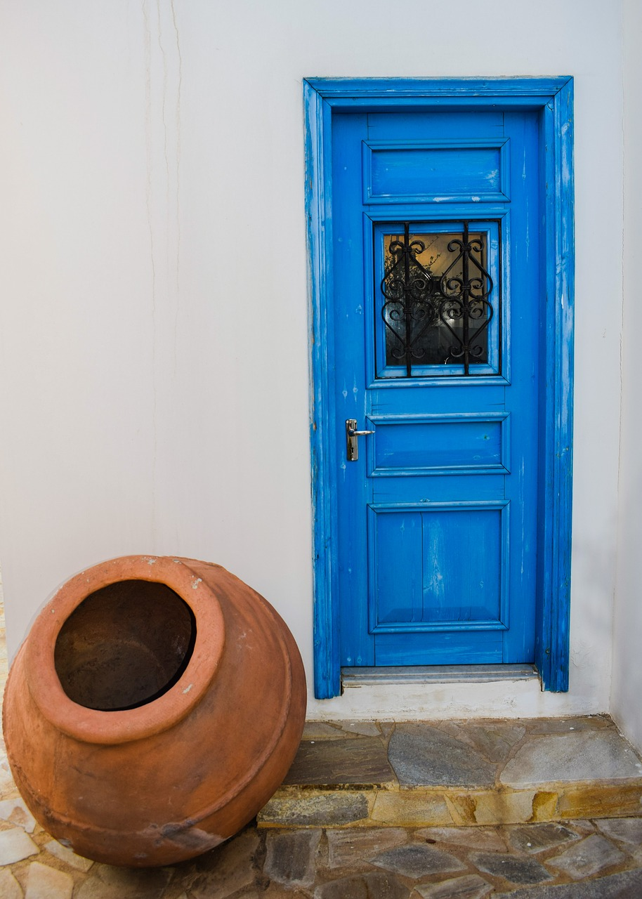 door wooden blue free photo