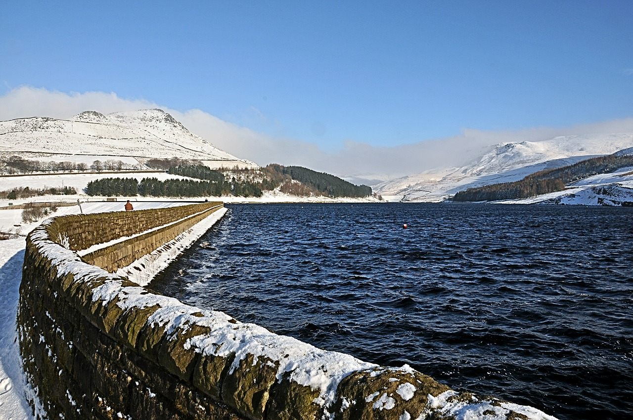dovestones resovoir with winter snow united kingdom free photo