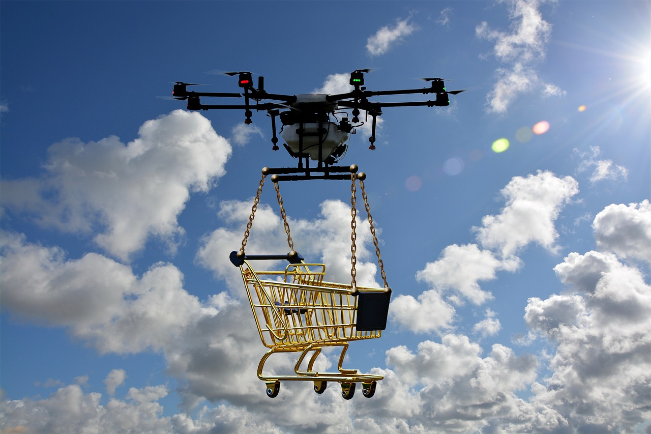 Drone with Grocery Basket