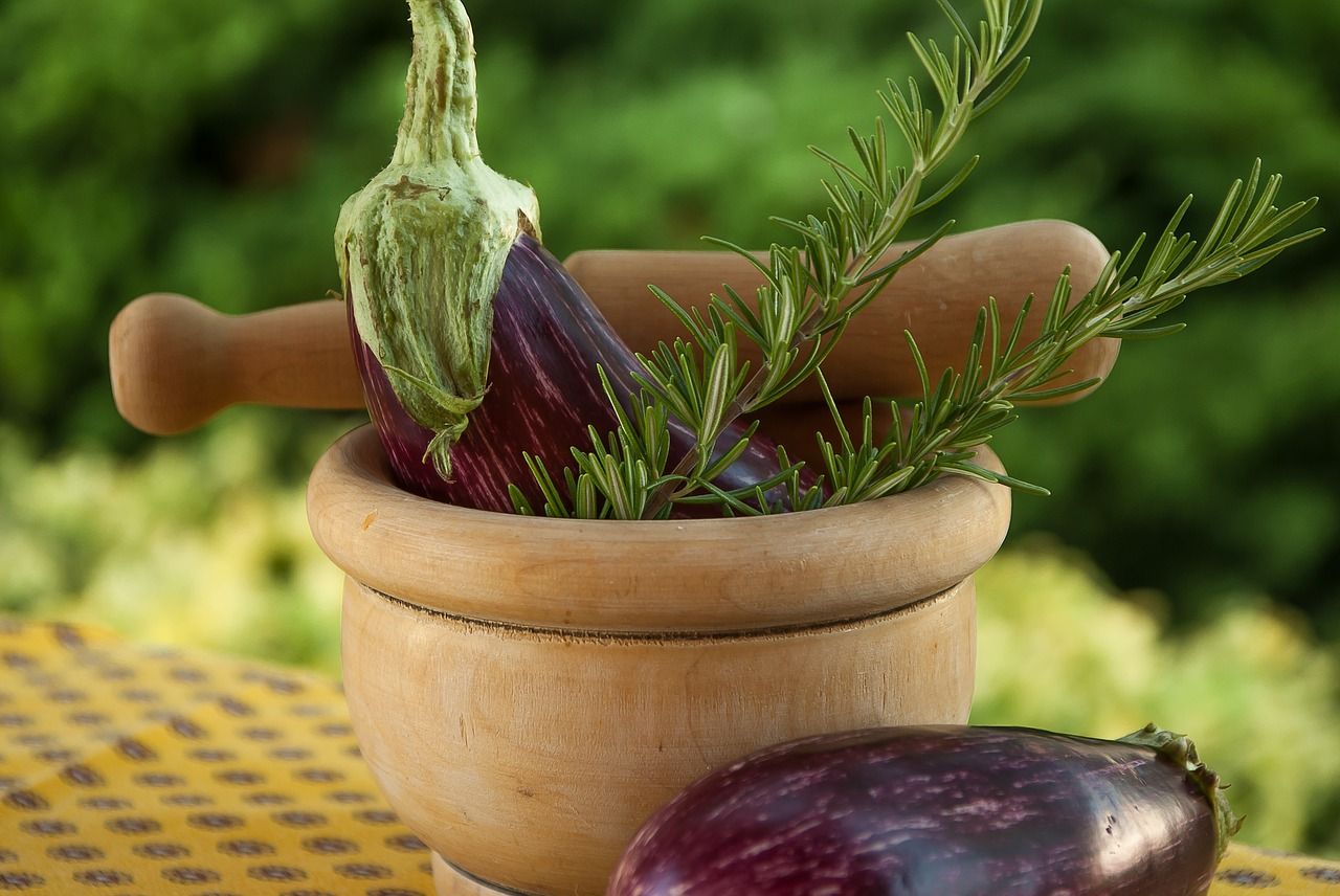 eggplant  rosemary  mortar free photo